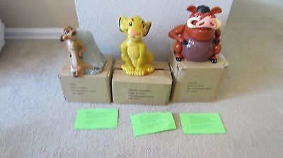 NEW Lot of 3 Disney Lion King Cookie Jars Voice Activated Lid Pumbaa Timon Simba