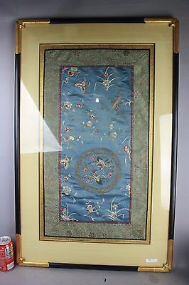 19th C. Chinese Framed Embroidery: White Cranes