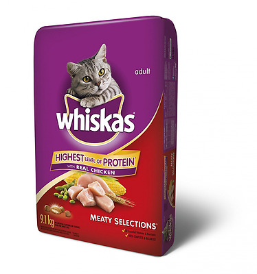 Whiskas Dry Meaty Selections with Real Chicken Food for Cats, 9.1kg