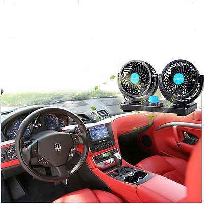 Xcellent Global 12V Car Dual Heads Cooling Fan Rotating Auto Quiet Ventilation w