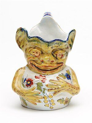 Unusual Antique French Rouen Faience Grotesque Jug C.1900