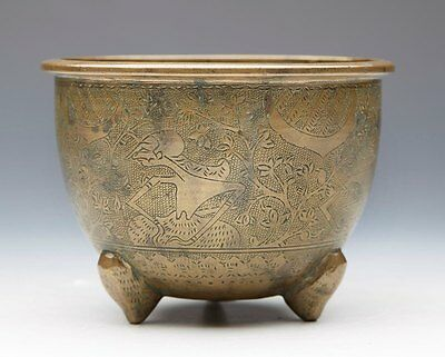 Unusual Antique Asian Bronze Mortar With Figures 19Th C.