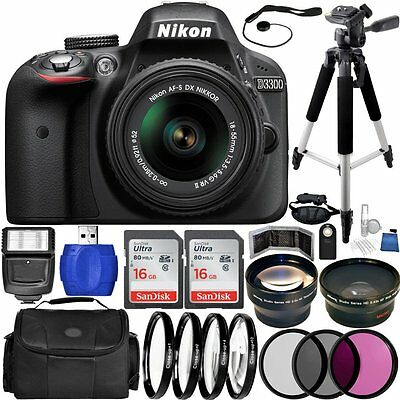 Nikon D3300 DSLR Camera with 18-55mm Lens In Black! USA MODEL! MEGA BUNDLE!