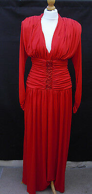 Vintage Retro 1970s Red Evening Dress by Ceremonia size 10 with beading