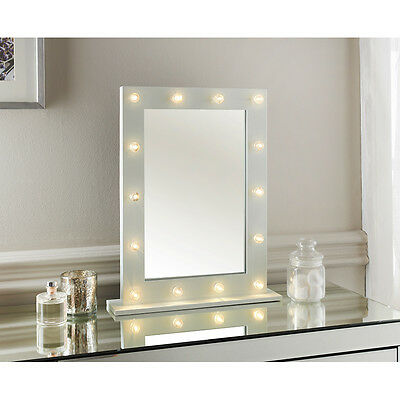 Modern Hollywood 14 Led Bulb Vanity Dressing Table Makeup Glass Mirror New White