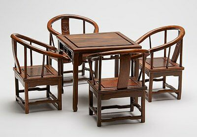 Antique Chinese Hard Wood Miniature Chairs & Table