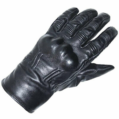 RST Motorbike Motorcycle Vintage Classic Retro 2 CE Leather Gloves - Black
