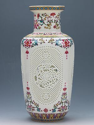 Chinese Famille  rose procelain  Hand-carved Hollow  Vase W Qianlong Mark 012