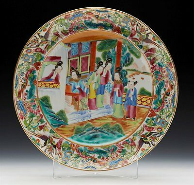 Antique Chinese Qing Famille Rose Figural Plate 19Th C.
