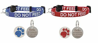 Cat Collar Do Not Feed With Bell Quick Release Free Engraved Glitter Paw ID Tag