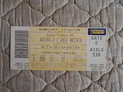Australia V Great Britain Rugby League Tri-Nations Match Ticket 2006