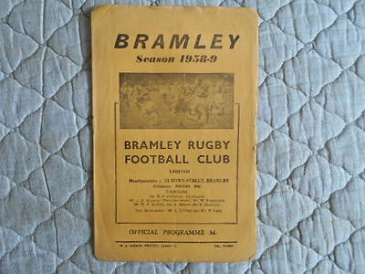 1958/59 Bramley V York Rugby League Match Programme