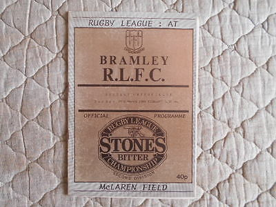 1987/88 Bramley V Wakefield Rugby League Second Division Match Programme