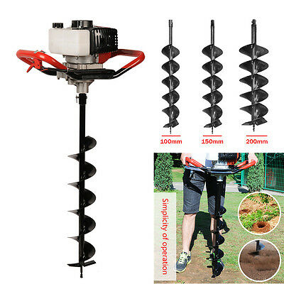 52cc Petrol Earth Auger Digger 3HP V-Type Post Hole Borer Ground Drill W/ 3 Bits