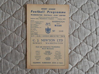 1961/62 Warrington V Wigan Rugby League Match Programme