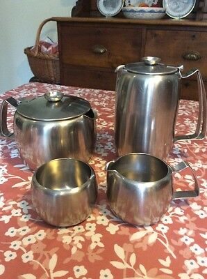 Old Hall stainless steel 4 piece tea set Connaught teapot hot water sugar milk