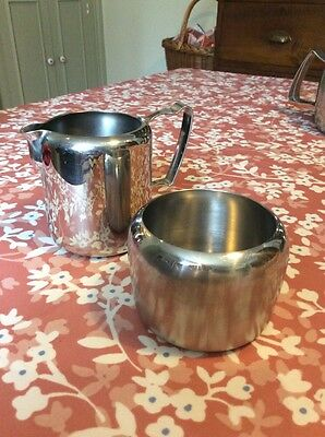 Old Hall Vintage Stainless Steel Milk Jug And Sugar Bowl