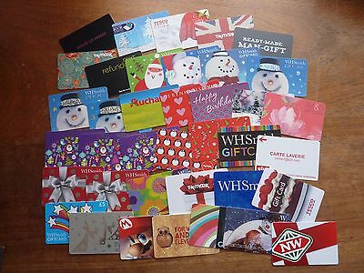 38 assorted used/spent gift/store cards various designs with some duplication