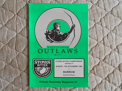 1992/93 Nottingham Outlaws V Barrow Rugby League Division 3 Match Programme