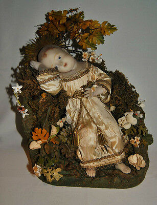 Antique rare Wax huge French doll , Baby Nativity , 19th century , Paper mache