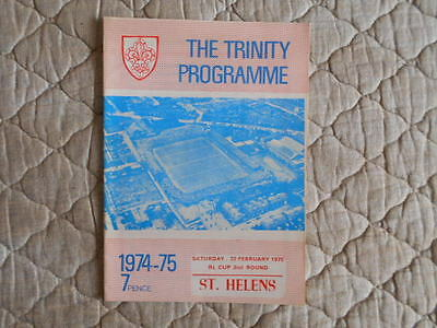 1974/75 Wakefield V St Helens Rugby League Cup 2Nd Round Match Programme