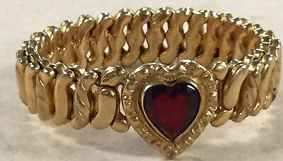 """Beautiful Synthetic Ruby Heart GF """"The DFB Co"""" """"Carmen"""" Stretchable Bracelet"""