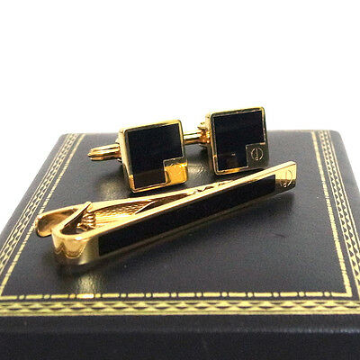 T2 Auth Dunhill Tie Bar Clasp Clip & Cufflinks Black Gold tone Set Good in Box