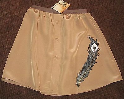 Girls Vintage Skirt Upcycled Repurposed Brown Peacock Feather Patch Size 6
