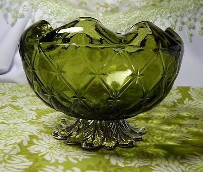 Green Pedestal Bowl Indiana Glass Duette Pattern Gold Tone Cast Metal Footed