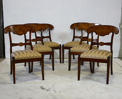 Set of 6 mahogany William IV traditional dining chairs with burl and gold fabric