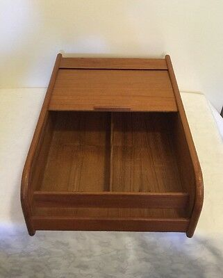 Vintage Teak Kitchen Office Desk Craft Organizer with Sliding Tambour Door