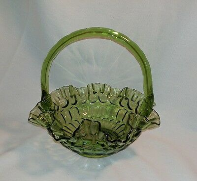 Fenton Green Glass Basket Fruit Bowl with Handle marked on bottom