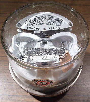 1930s GE / PGE Single Phase Watthour Meter - Type I-16 - Steampunk, Decoration