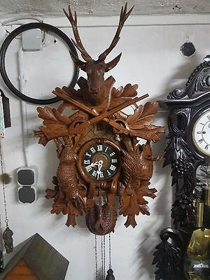 Original Black forest Cuckoo clock Wall clock Schwarzwald Hunting 80cm high