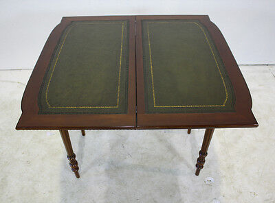 Beautiful Mahogany Carved folding games card table with Genuine Leather top