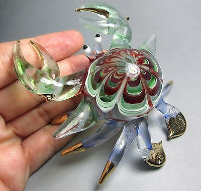 Green Maroon CRAB handmade blown ART GLASS figurine 4 Inches GIFT collection