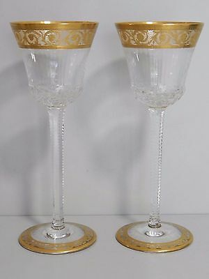 Vintage Pair St Louis Crystal Thistle Gold Hock glasses 20.5 cm - Stunning!