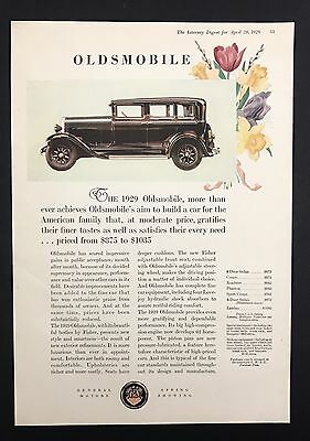 1929 Vintage Print Ad 1920s Car Automobile OLDSMOBILE GM Color Illustration