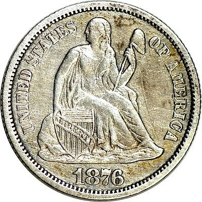 1876-CC 10C Liberty Seated Dime XF(Cleaned)  K1509