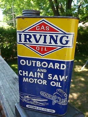 RARE VTG IRVING OUTBOARD CHAIN SAW  CAN MOTOR OIL SIGN CANADA Imperial Quart