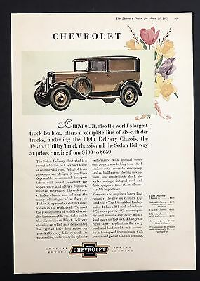 1929 Vintage Print Ad 1920s Car Automobile CHEVROLET GM Color Illustration