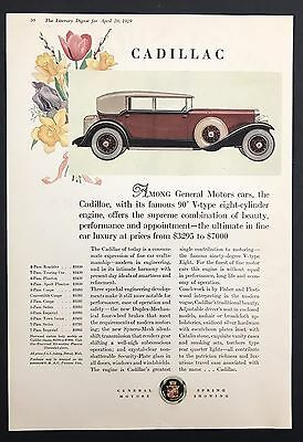 1929 Vintage Print Ad 1920s Car Automobile CADILLAC GM Color Illustration