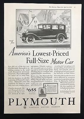 1929 Vintage Print Ad 1920s Car Automobile PLYMOUTH GM B&W Illustration