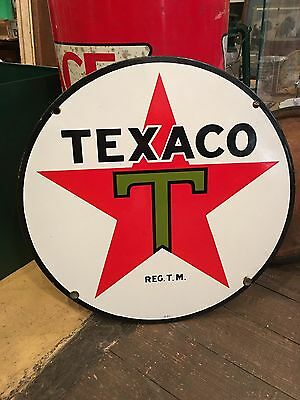 "Vintage Texaco Advertising 15"" Round Single Sided Porcelain Sign"
