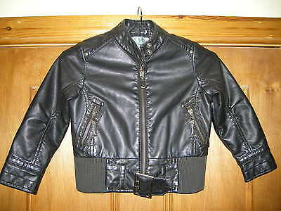 Girls Kids Black Faux Leather Long Sleeved Outdoor Jacket Age 3-4 Years Used