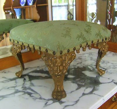 Antique Footstool With Cast Iron North Wind Heads And Paw Feet!