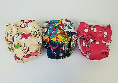 Happy Flute Lot of 3 Bamboo One Size All In One Cloth Diapers Snaps AIO EUC NB