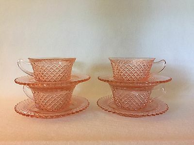 4 Anchor Hocking PINK MISS AMERICA Diamond Pattern CUPS & SAUCERS Free U.S Ship