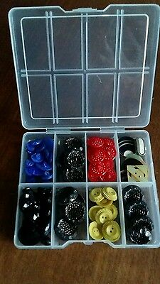 Box of vintage buttons mainly glass