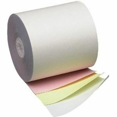 """3"""" x 65' 3 ply Carbonless Bond Receipt Rolls White/Yellow/Pink, Case of 50"""